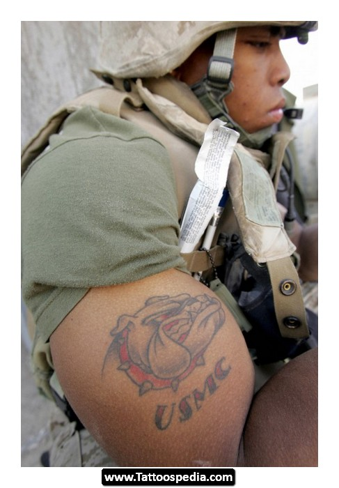 Marine Corps n Dog Tattoo On Muscles