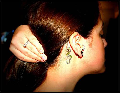 Music Note Tattoo Below Ear