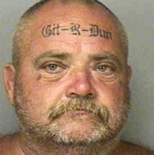 Old Man With Face Tattoo Design