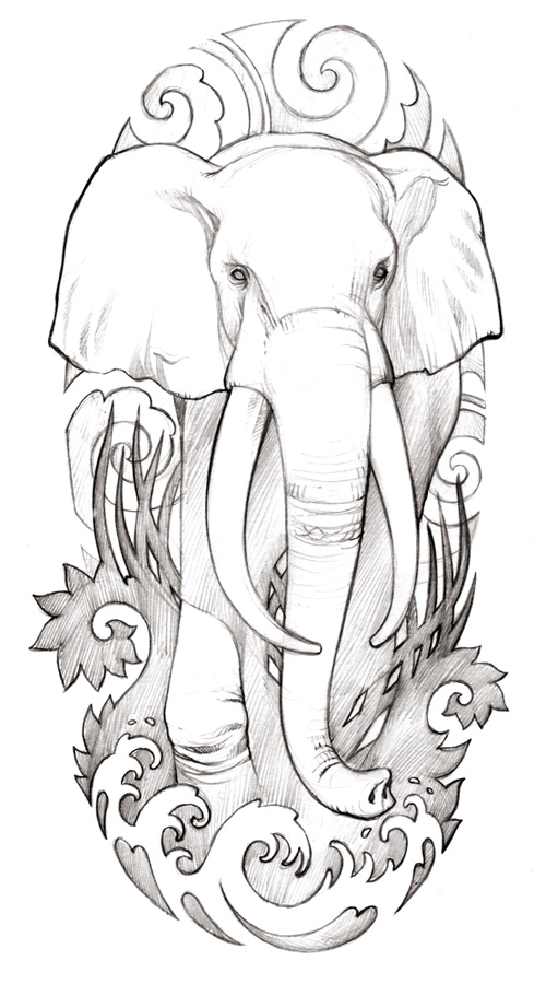 One More Elephant Tattoo Drawing
