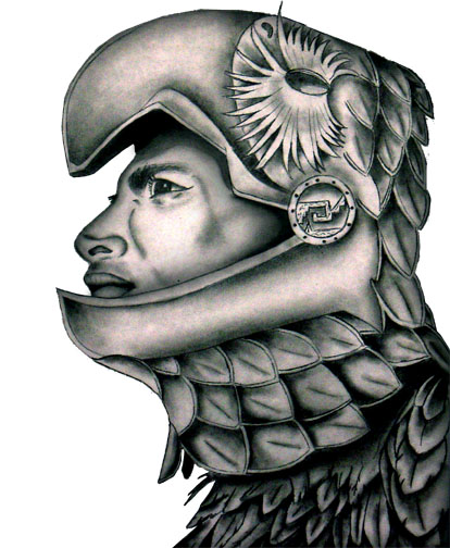 Outstanding Aztec Warrior Face Tattoo