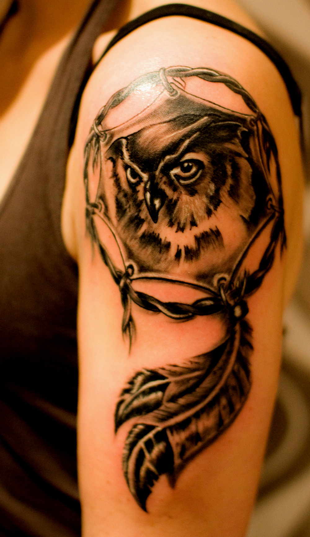 Owl Dream Catcher Tattoo On Upper Arm