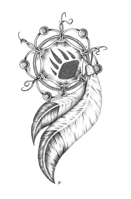 Paw Print Dream Catcher Tattoo Sample
