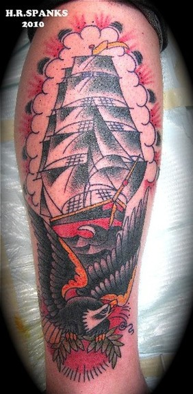 Pirate Ship n Eagle Tattoo Design