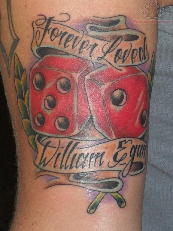 Red Ink Dice Tattoo Design