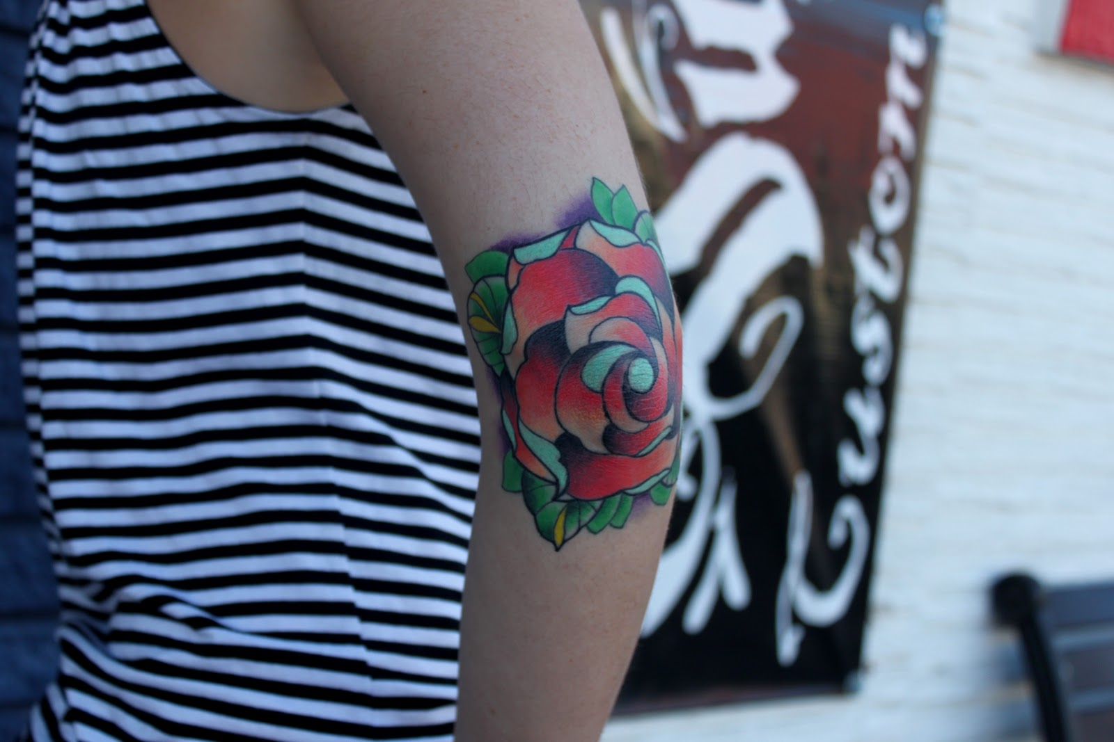 Red Rose Elbow Tattoo Design For Girls
