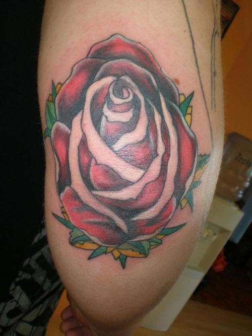 Red Rose Elbow Tattoo Design