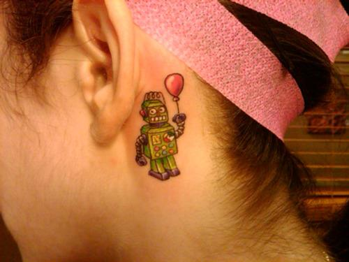 Robot Tattoo Behind Ear
