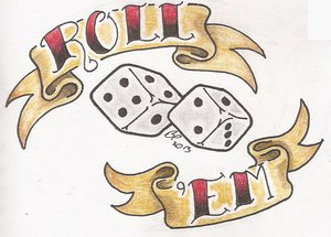 Roll Em Dice Tattoo Design