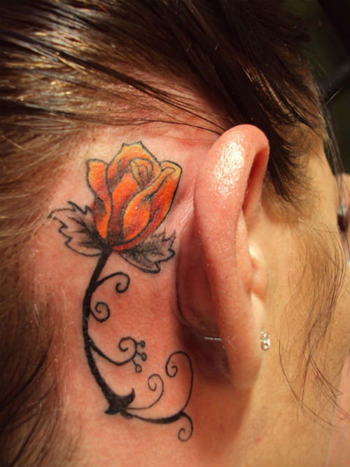 Rose Tattoo Behind Ear