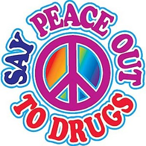 Say peace out to drugs tattoo design