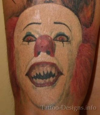 Scary Evil Clown Face Tattoo Design