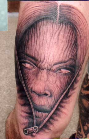 Scary Evil Face Tattoo Design