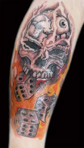 Skull Dice n Fire Tattoo Design