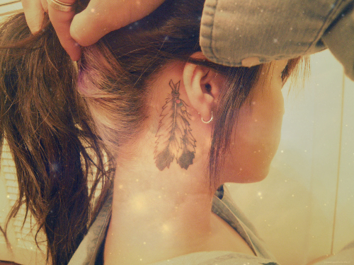 Small Feathers Tattoo Behind Ear