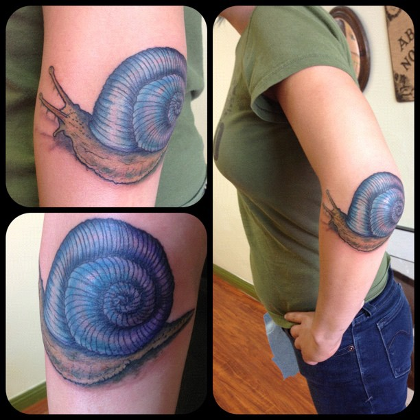 Snail Elbow Tattoo Design