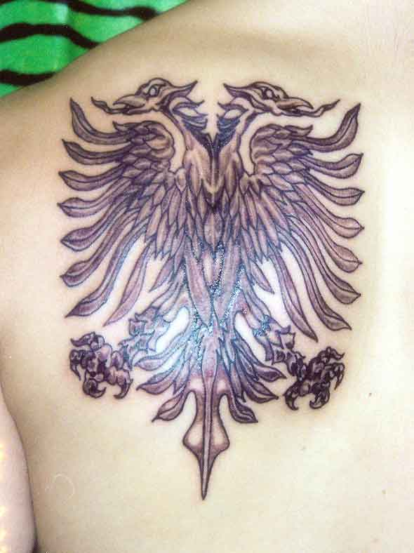 Special Two Headed Albanian Eagle Tattoo On Back