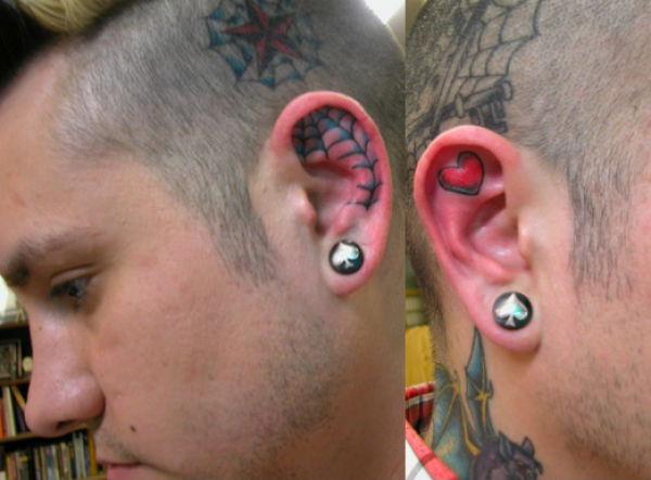 Spider Web n Heart Tattoo In Ear