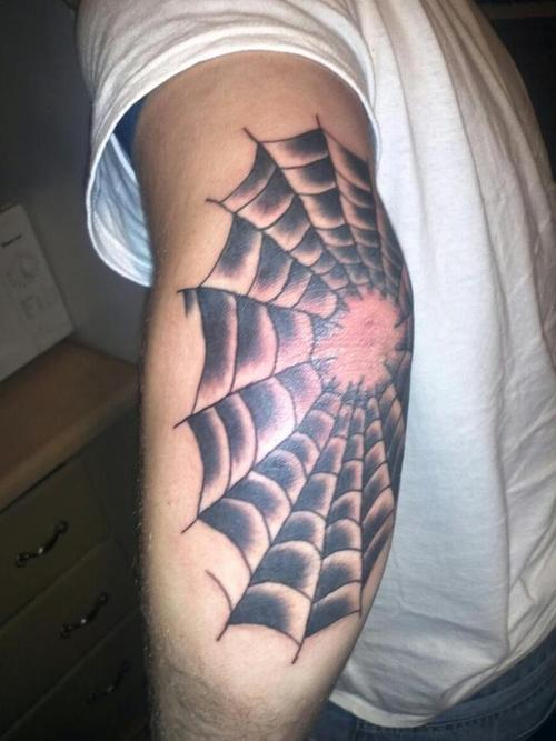 Spider Web Tattoo On Elbow