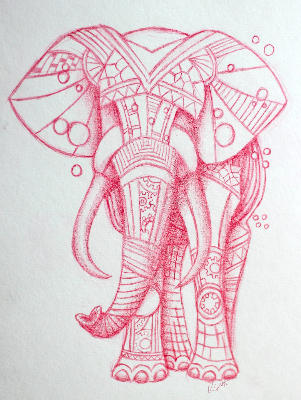 Starry Tribal Elephant Tattoo Art
