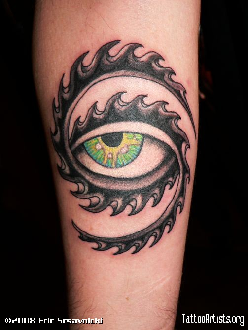 Tool Eye Tattoo On Forearm