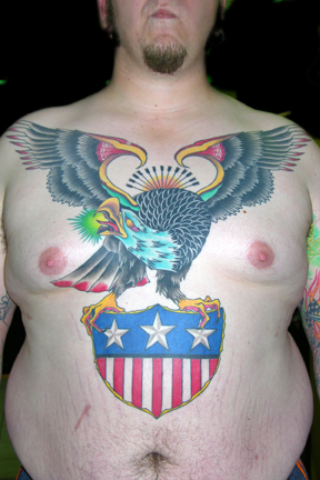 Traditional Eagle Tattoo On Chest For Men