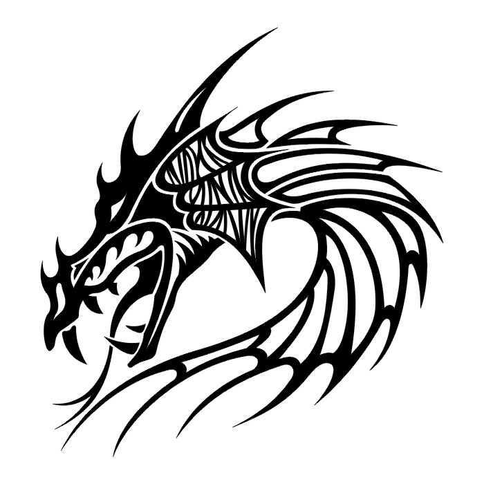 Tribal Dragon Face Tattoo Design