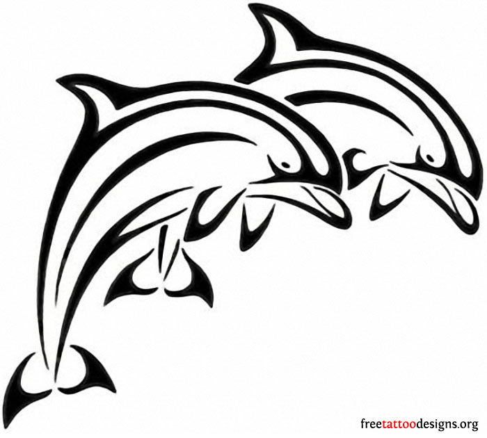 Twin Jumping Dolphin Tattoo Design