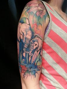 Watercolor Elephant Tattoo On Sleeve