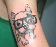 White Cute Dog With Glasses Tattoo Design