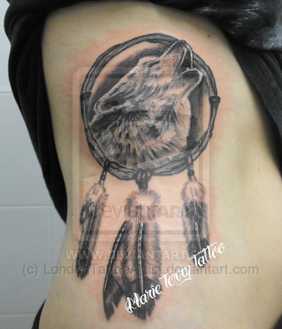 Wolf Dream Catcher Tattoo On Ribs