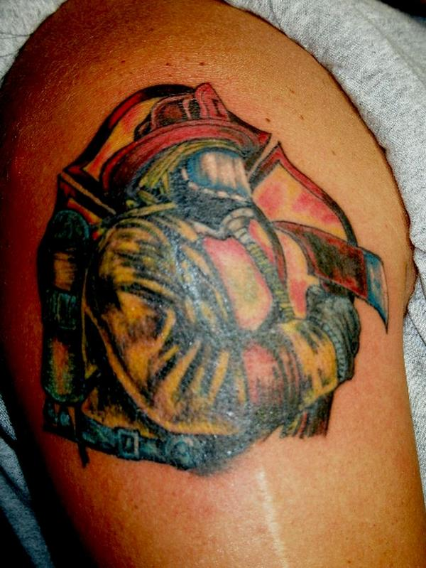 A Very Nice Firefighter Tattoo On Shoulder