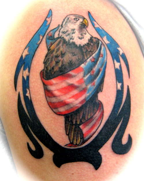 American Eagle n Flag Tattoo Design