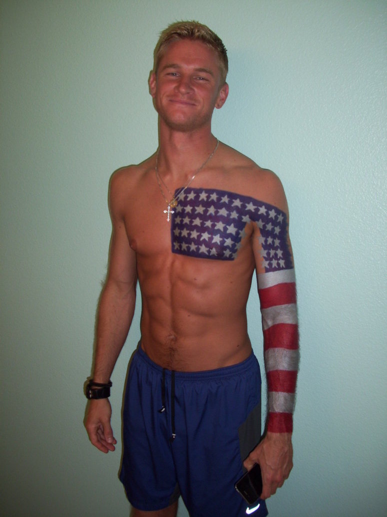 American Flag Sharpie Tattoo Design For Guys
