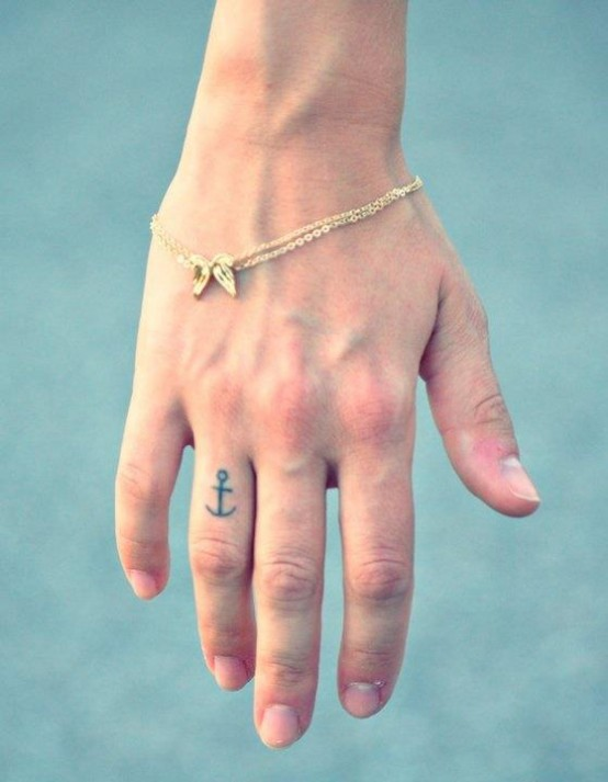 Anchor Tattoo Design On Ring Finger