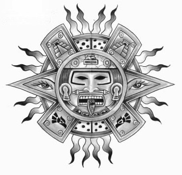 Aztec Calendar Flames Tattoo Sample
