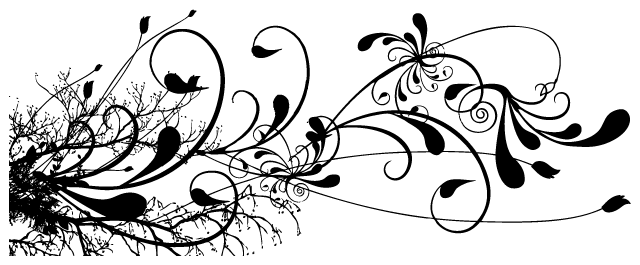 Black Floral Swirl Tattoo Design