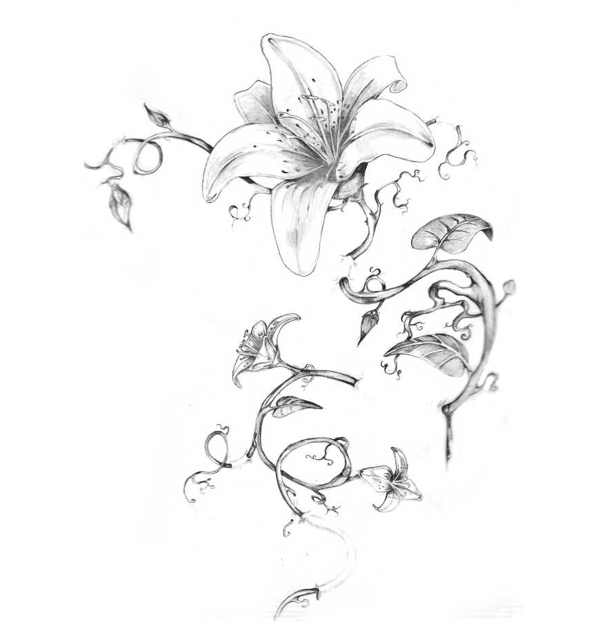 Black n White Floral Tattoo Design
