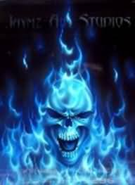 Blue Skull Flame Tattoo Design