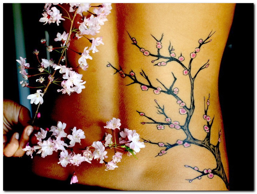 Cherry Blossom Tree Tattoo Design On Back
