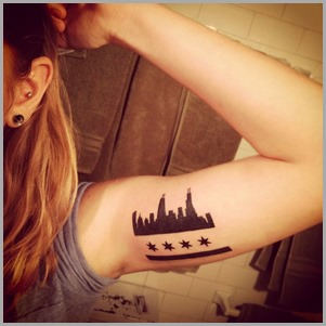Chicago Flag Tattoo For Girls