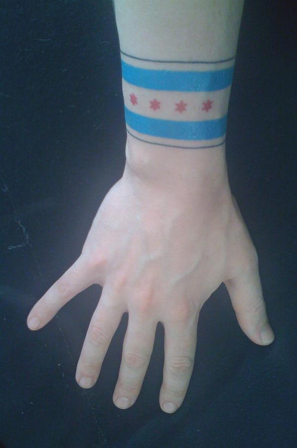 Chicago Flag Tattoo On Wrist