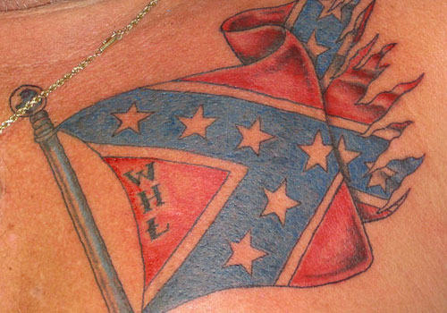 Cool Rebel Flag Tattoo On Chest