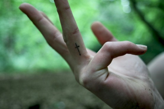 Finger Tattoo Cross