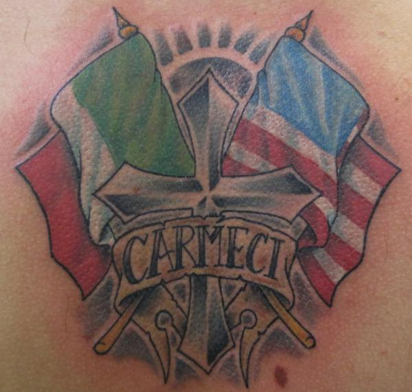 Cross With Italian American Flags Tattoo Design