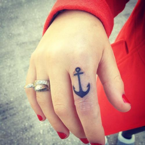 Cute Anchor Tattoo Design On Index Finger