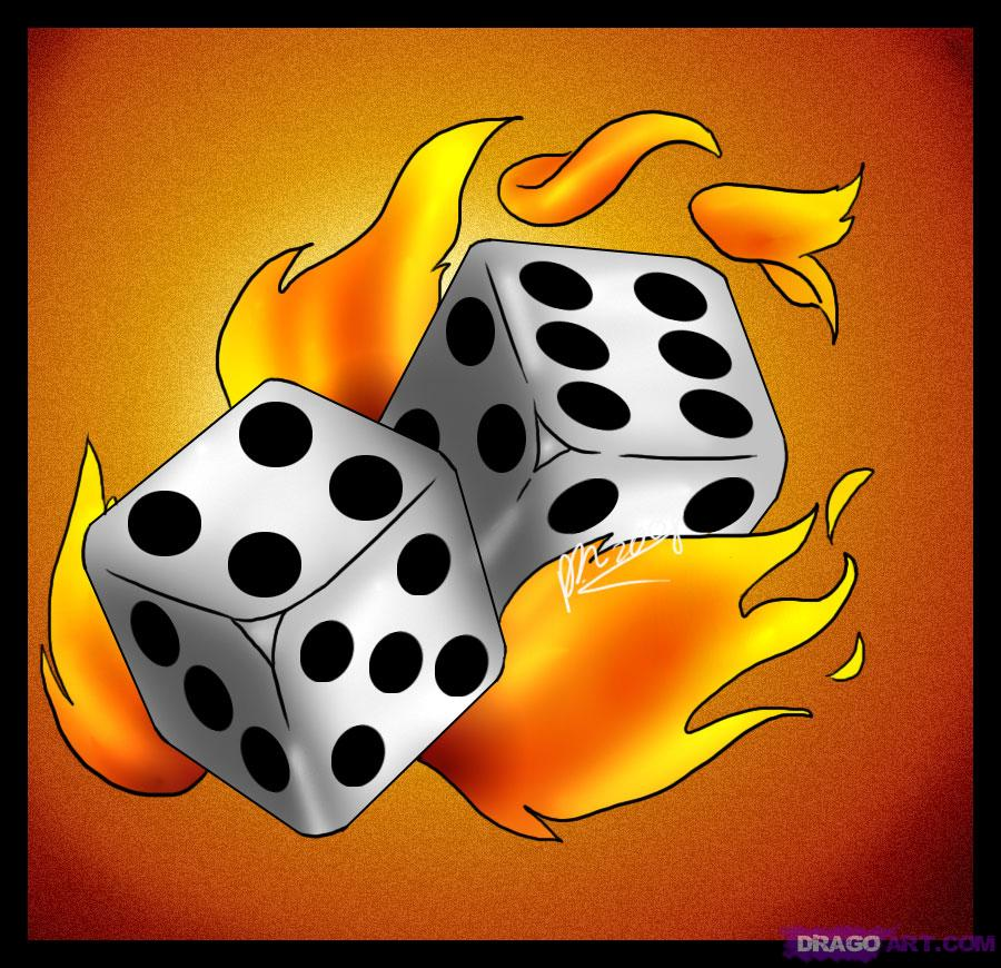 Dice Fire n Flames Tattoo Graphic