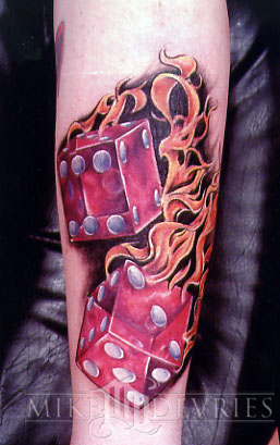 Dice Fire Tattoo On Arm