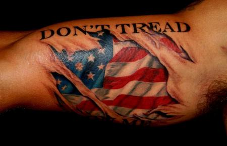 Don't Tread US Flag Tattoo On Muscles