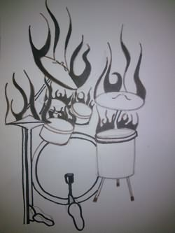Drum In Flames Tattoo Drawing